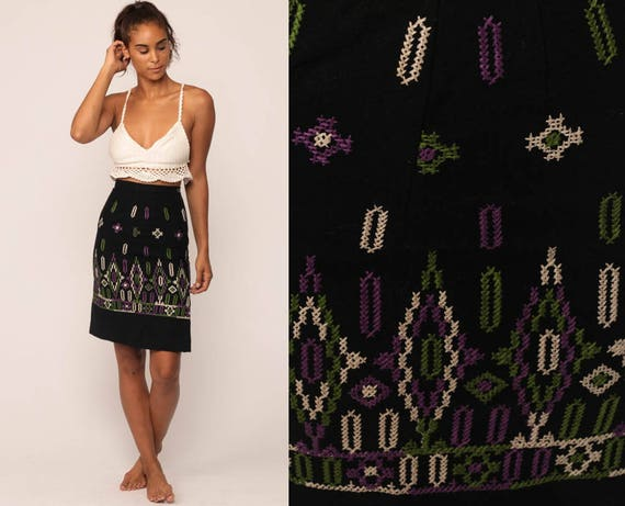 Wool Pencil Skirt Mini EMBROIDERED FLORAL Skirt 70s High Waisted Folk Ethnic WIGGLE 60s Hippie Boho Retro Vintage Bohemian Extra Small xs
