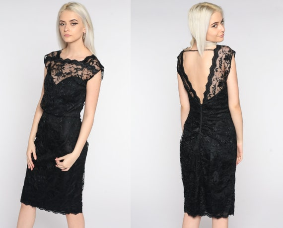 Black Lace Dress 80s Party Dress Low Back Backless Dress Illusion Sweetheart Neckline Wiggle Pencil 1980s Sheath Vintage Cap Sleeve Small