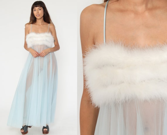 Feather Nightgown Lingerie Slip Dress 70s Maxi Nightgown Nylon Boho Baby Blue Pin Up Boudoir Empire Waist Vintage Pastel Long Small Medium