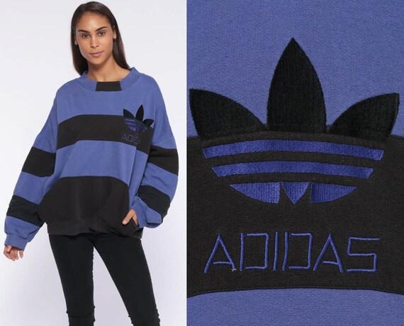 Adidas Sports Striped Sweatshirt Crewneck Sweater Purple Black 90s Streetwear Vintage Trefoil Slouchy Pullover Retro 80s Extra Large xl xxl