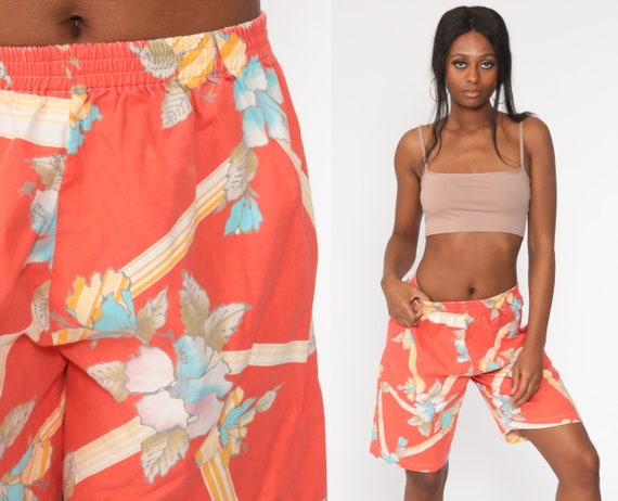 Tropical Floral Shorts 90s Beach Shorts Orange Hawaiian Shorts Summer Surfer High Waisted Retro 80s Vintage 1990s Small Medium