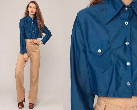 Blue Crop Top 70s Cropped Shirt Bohemian Retro Blouse Disco Shirt 1970s Hippie Long Sleeve Button Up Shirt Plain Medium
