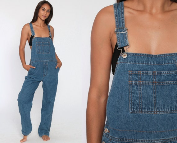 Denim Overalls Women 90s GRUNGE Suspender London Jean Pants Long Jean 1990s Straight Leg Jeans Normcore Vintage Small Medium