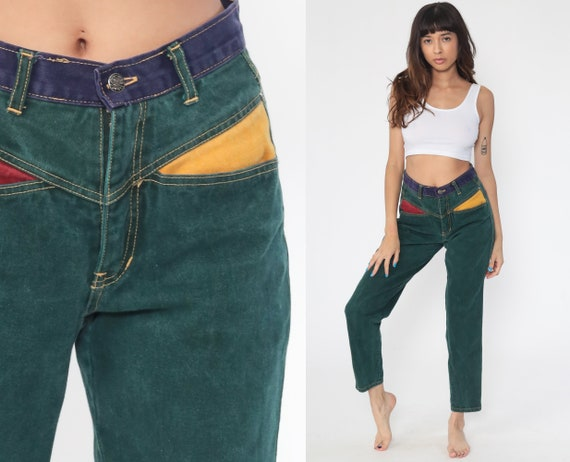 Color Block Jeans Green Mom Jeans 90s Jeans Mid Rise Dark Green 1990s Denim Pants Tapered Colored Jeans 1980s Vintage Small 27
