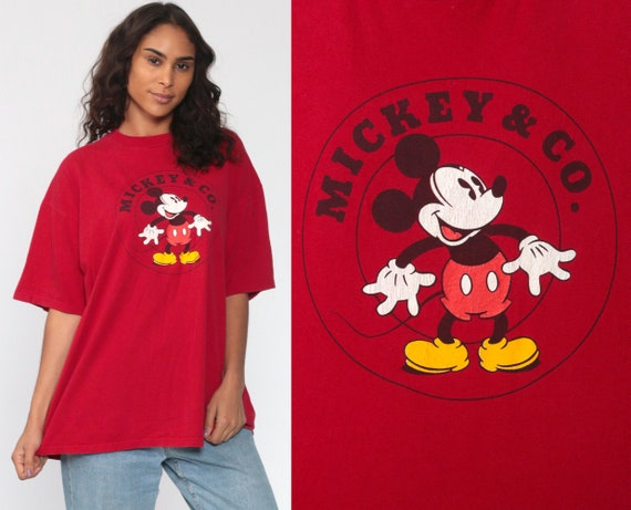 Mickey & Co Shirt 90s Mickey Mouse Tshirt Walt Disney Shirt Streetwear Graphic Cartoon T Shirt Red Vintage Retro Tee Extra Large xl