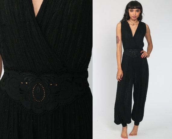 Wide Leg Jumpsuit Black Harem Jumpsuit Grecian Embroidered Playsuit High Waisted Pants Wrap 90s Vintage Pantsuit V Neck Small Medium