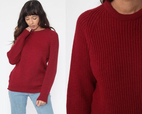 Burgundy Sweater WOOL Knit 80s Slouchy Pullover Raglan Sleeve Jumper Grunge 1980s Vintage Retro Nerd Small