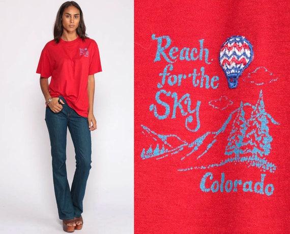 Colorado Shirt Hot Air Balloon Shirt 80s T Shirt Retro Tee Reach For The Sky Mountain TShirt Vintage Graphic Tee Red Extra Large xl