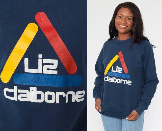 Liz Claiborne Sweatshirt 90s Sweatshirt Graphic Raglan Sleeve Slouchy Distressed Navy Blue Sweatshirt 80s Vintage Pullover Medium