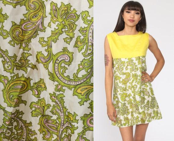 Paisley Dress 60s Mod Psychedelic Print Mini Dress