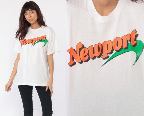 Newport Cigarette Shirt BURNOUT T Shirt Graphic TShirt 80s Smokers Tee Burnout Single Stitch Retro 90s Vintage Paper Thin White Medium Large