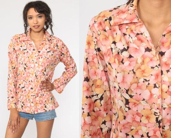 70s Floral Shirt Pink Boho Shirt Disco Shirt Brown Button Up Flower Print Bohemian Blouse 1970s Hippie Vintage Long Sleeve Medium