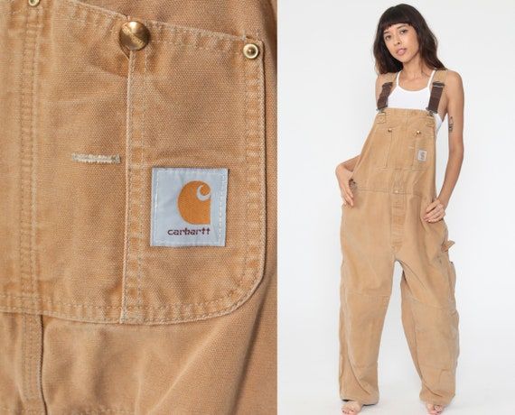 90s CARHARTT Overalls Workwear Tan Coveralls Utilitarian Cargo Dungarees Light Brown Utility Pants Work Wear Bib Vintage Extra Large xl 46