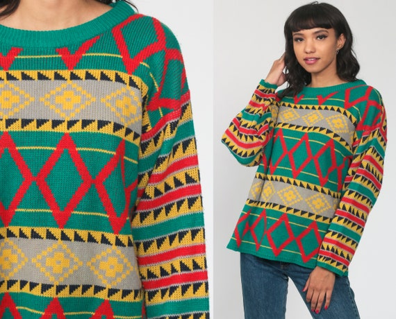 Geometric Knit Sweater 80s Wide Sleeve Slouchy retro Diamond Print Green Red Primary Color Pullover Grunge 1980s Vintage Retro Medium Large