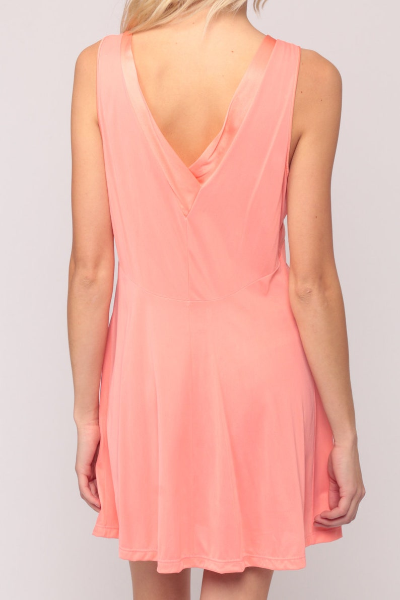 Pink Lingerie Nightgown LACE Babydoll Slip Dress 70s Lingerie Nylon Mini Deep V Neck 1970s Vintage Boho Salmon mpire Waist Medium