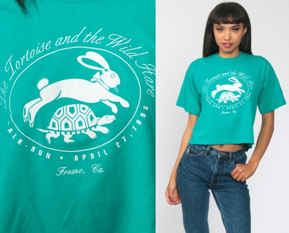 Tortoise and the Hare Shirt 1996 Fresno Walk Run Tshirt California Crop Top Green 90s Graphic Tee Running Shirt Vintage Small xs