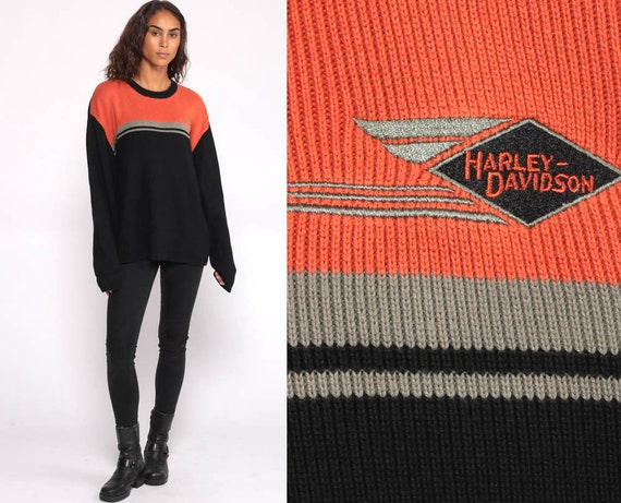 HARLEY DAVIDSON Sweater 90s Orange Slouchy Knit Pullover Striped Jumper Oversized 00s Biker Vintage Grunge 90s Streetwear Extra Large xl