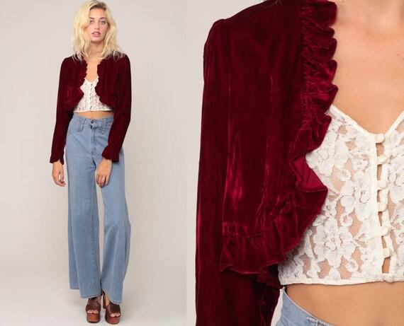 Red Velvet Jacket 70s Bolero Jacket CROPPED Jacket RUFFLE Boho 1970s Bohemian Crop Jacket Short Vintage Extra Small xs