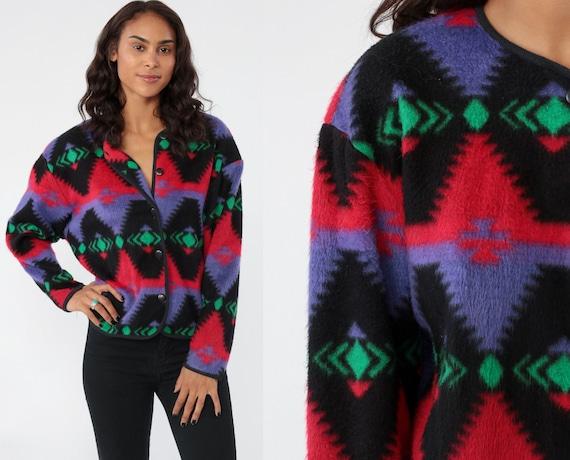 Fleece Southwestern Jacket 90s TRIBAL PRINT Aztec Blanket Purple Red Sweater Jacket Bohemian 80s Southwest Grunge Boho Vintage Small Medium