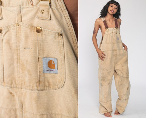 90s CARHARTT Overalls Tan Streetwear Cargo Dungarees Coveralls Workwear Overalls Distressed Long Utility Work Wear Vintage Medium Large