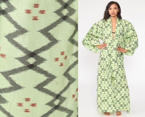 70s Japanese Kimono Robe 1970s Bohemian Dressing Gown Wrap Green Maxi Boho Hippie Cotton Kimono Vintage Retro Festival Small Medium Large