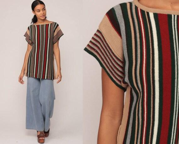 Tunic Top 70s Sweater Top SIDE SLIT Striped Blouse Knit Shirt Boho 1970s Bohemian Vintage Short Sleeve Red Black Tan Medium