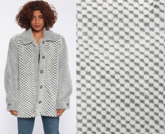 Faux Fur Jacket 80s Grey FUZZY Coat Vegan Coat Fak