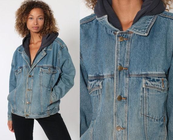 Hooded Jean Jacket 90s Sweatshirt Hood Denim Jacket Grunge Jacket Jean Hoodie Blue Coat Hood 1990s Vintage Small Medium