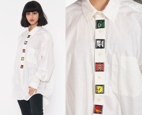 90s Looney Tunes Shirt -- Tweety Bird Bugs Bunny TAZ Shirt Button Up Cartoon Top 1990s Graphic Button Up Vintage Long Sleeve White Large