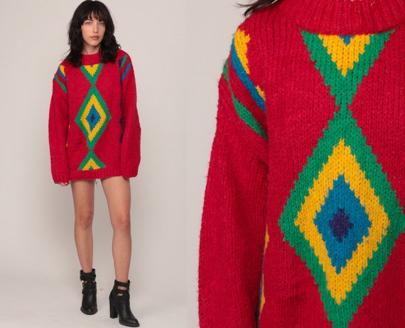 80s Sweater Geometric Print 80s Red Knit Jumper Hipster Statement Graphic Print Longline Vintage Pullover Retro Long Medium Large