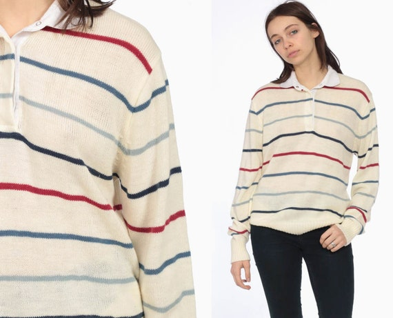 80s Striped Off White Polo Sweater -- Striped Top Knit Shirt Polo Long Sleeve Button Up Light Collared Nerd Grandpa Long Sleeve Small Medium