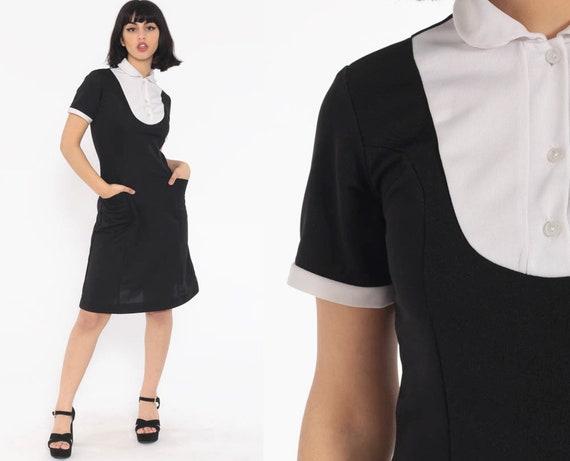 Vintage Maid Dress 70s Mini Gothic Black White Wednesday Addams Dress Collar Mod Shift Bib 1970s Goth Vintage Costume Extra Small xs