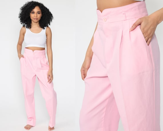 Baby Pink Pants Pleated Trousers Pastel High Waisted Trousers 80s Tapered Straight Leg 90s Vintage Summer Small