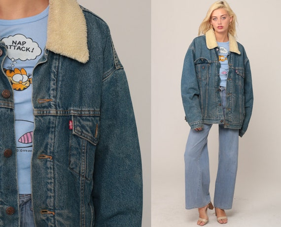 Sherpa Denim Jacket LEVIS Shearling Jacket Denim Trucker 80s Jean Jacket Levi Fleece Blue Oversized Coat Vegan Medium Extra Large xl