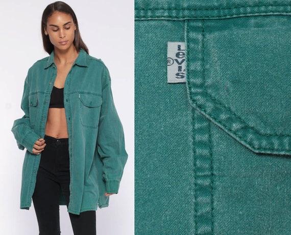 Levis Denim Shirt -- Green Button Up Shirt Jean Shirt 90s Grunge Long Sleeve Cotton Oversized Button Down Extra Large XL L Unisex