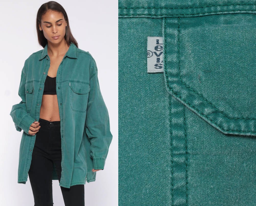 Levis Denim Shirt Green Button Up Shirt Jean Shirt 90s Grunge