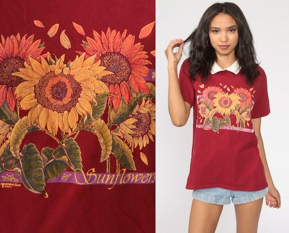 Sunflower Shirt Collared Floral T Shirt Retro TShi