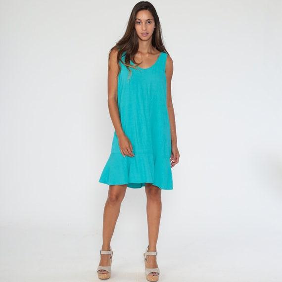 vintage 90s Turquoise PLEATED full skirt JUMPER mini dress Medium schoolgirl babydoll vintage 90s grunge dress overall dress pinafore dolly