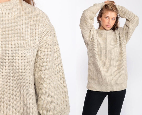 Oatmeal Sweater GRUNGE Sweater 80s Beige Slouchy Knit Pullover Jumper Textured 1980s Hipster Vintage Plain Normcore Oversize Large