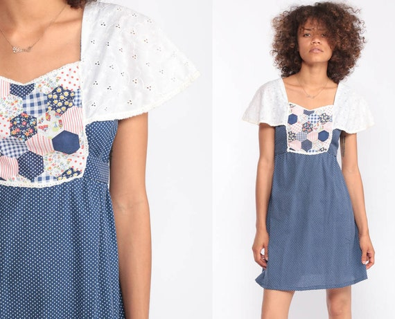 70s Mini Dress PATCHWORK Bohemian Babydoll Dress 1970s Boho Dress EYELET Flutter Sleeve Polka Dot Vintage Empire Waist Blue Small