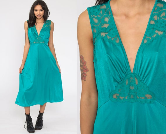 Teal Nightgown Lingerie LACE Slip Dress PLUNGING 90s Midi Nylon Boho Vintage Deep V Neck Empire Waist Large