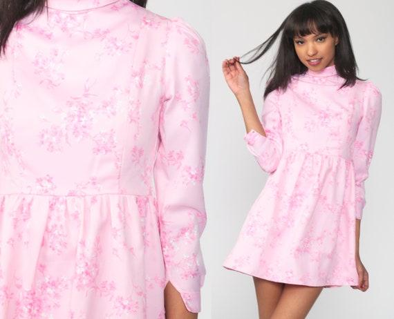 Pink Puff Sleeve Dress Babydoll Dress 70s Mini Dress Boho Floral Print 1970s Hippie Bohemian Empire Waist Festival Vintage Extra small xs