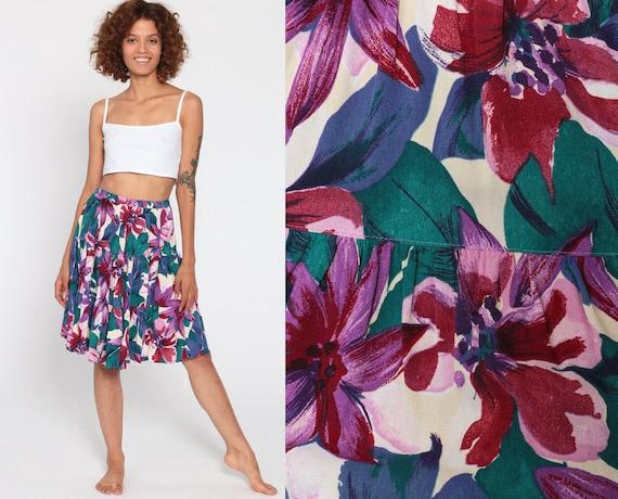 Floral Mini Skirt 90s Tiered Mini Tropical Peasant Skirt Boho Purple Blue 1990s Vintage Hippie Festival High Waisted Small Medium