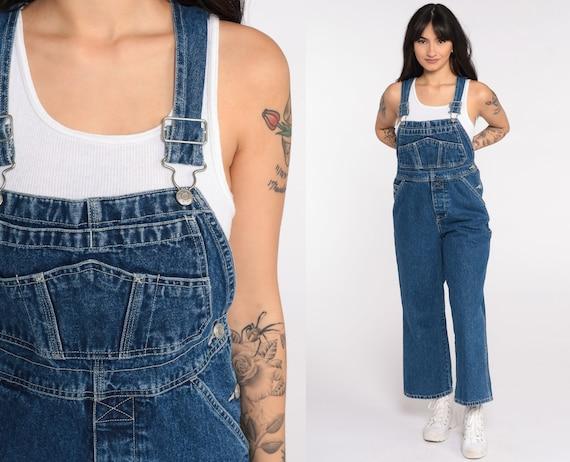 90s Overalls Pants xxs Petite Bib 1990s Denim Pants Jean Dungarees Coveralls Long Grunge Blue Vintage Carpenter Boyfriend Extra Small 2xs