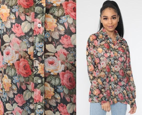 Sheer Floral Blouse 70s Pink Boho Top Button Up Shirt Bohemian Long Sleeve Shirt 1970s Vintage Hippie Romantic Shirt Summer Medium Large