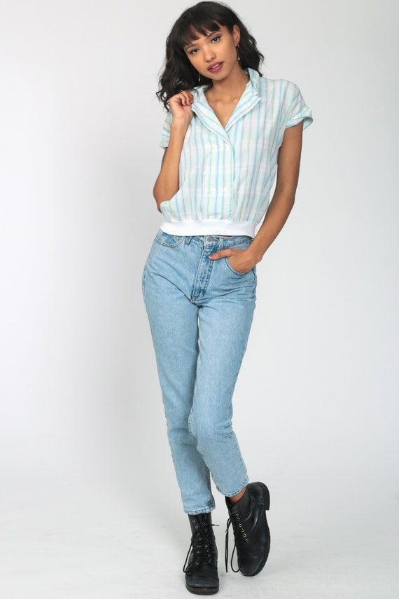 Pastel RAINBOW Blouse 80s Button Up Shirt Striped… - image 2