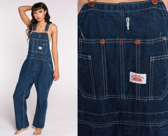 Round House Jean Overalls 80s Denim Pants Baggy 1980s Dungarees Bib Utility Workwear Vintage Carpenter Medium 38