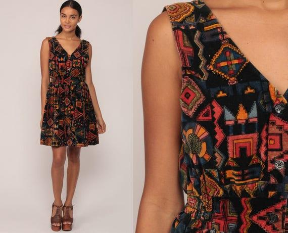 Babydoll Mini Dress 70s Boho Mini Tribal Print Empire Waist VELVET Bohemian 1970s Button Up Vintage Sleeveless V Neck Medium