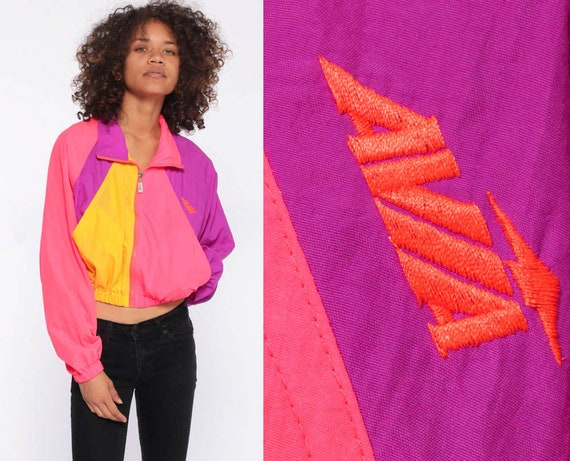 Neon Avia Windbreaker -- 90s Cropped Windbreaker Bright Neon Pink Windbreaker Zip Up Jacket Cafe Racer Purple Yellow Color Block Print Small