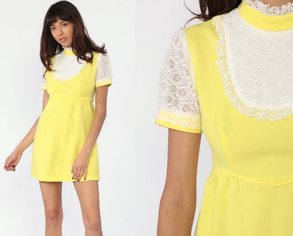 Yellow Lace Bib Dress Babydoll Dress 70s Mini Dolly Pastel 60s Mod Minidress Empire Waist Puff Sleeve Vintage LOLITA Small